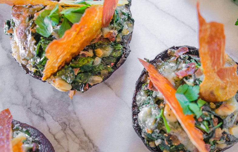 Stuffed Portobello Mushrooms with Crispy Prosciutto