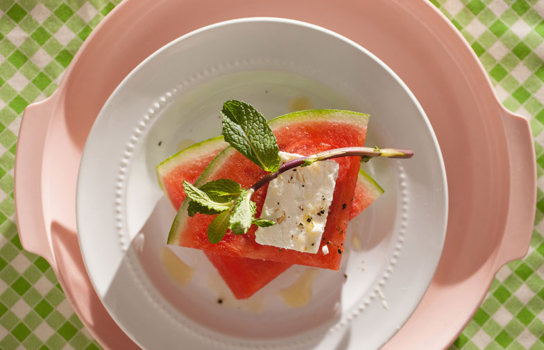 Sliced watermelon with Greek feta and mint recipe
