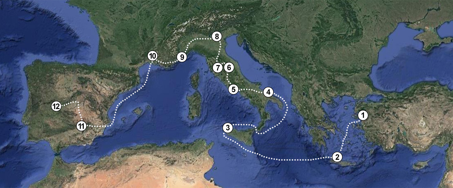 map of the Mediterranean with dotted path